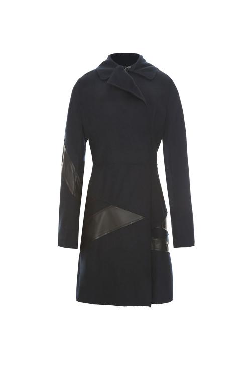 casaco lã recortes camurça