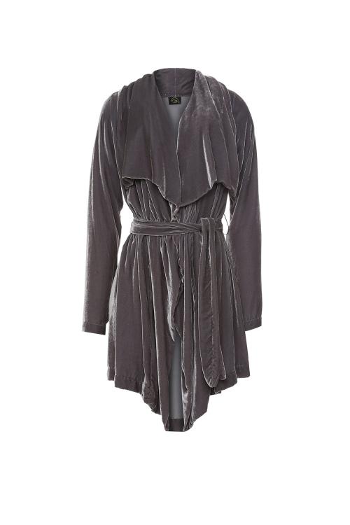 casaco veludo de seda comprido