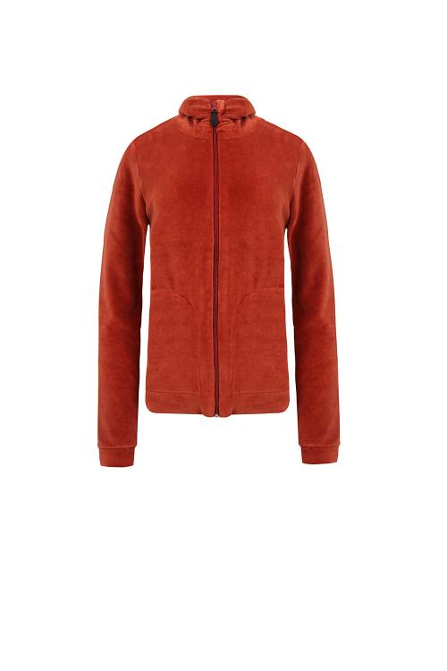 casaco plush gola franzida e bolso lateral