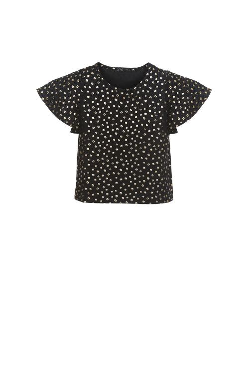 blusa modal com foil poá dourado mg curta