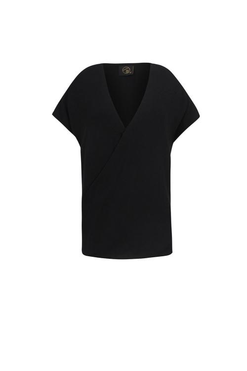 blusa alfaiataria textura fluído transpassada