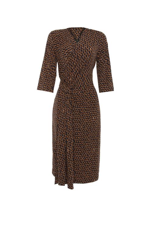 Vestido Jersey Tweed Recortes Drapeado