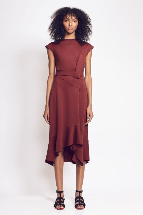 vestido malha dupla leve midi acinturado