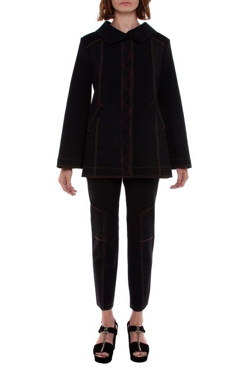 casaco malha dupla com pesponto