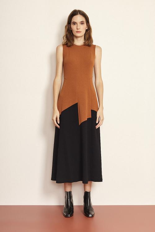 vestido bouclê midi bicolor