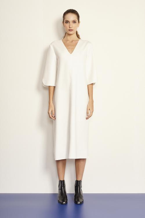 vestido malha dupla leve manga 3/4 dec v