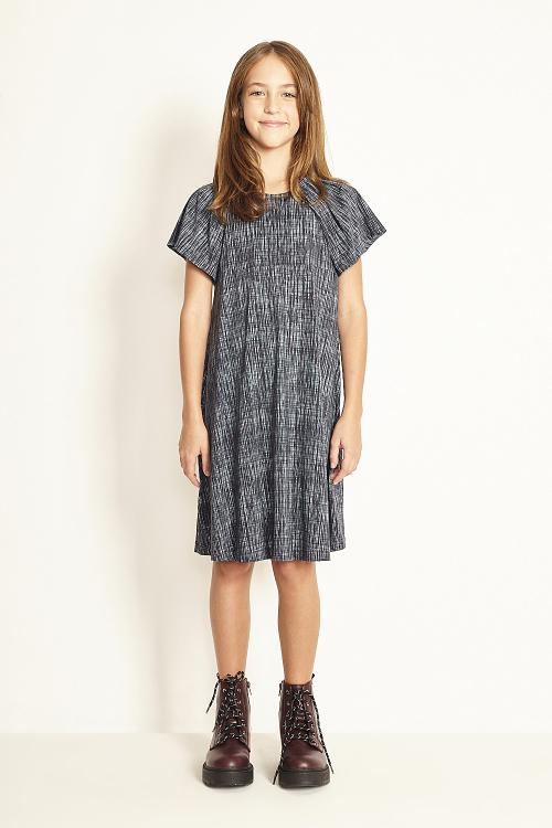 vestido jersey textura manga curta