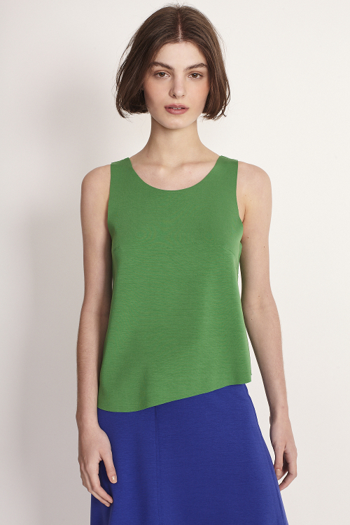 blusa  malha duplo leve assimétrica